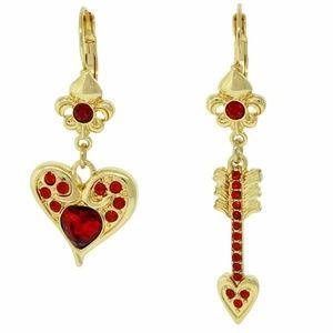 Valentine's Red Heart & Arrow Earrings (Goldtone)